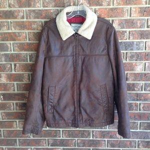 Levi Strauss Faux Leather Bomber Jacket Size Large